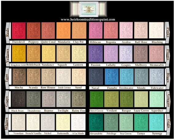 Chalk Paint - 6 Oz Sample Pint or Quart- Heirloom Traditions *50 - sample general color chart