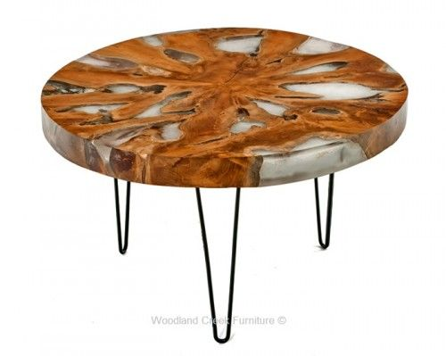 Mari Round Teak Slab Coffee Table with Metal Legs Black Metals