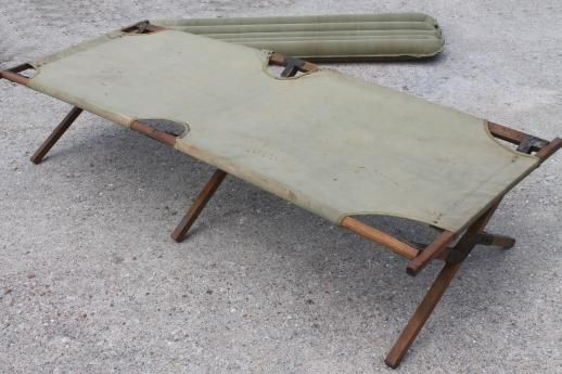 Cool Old Folding Camp Cot Wwii Vintage Wood Canvas Army Cot Download Free Architecture Designs Intelgarnamadebymaigaardcom