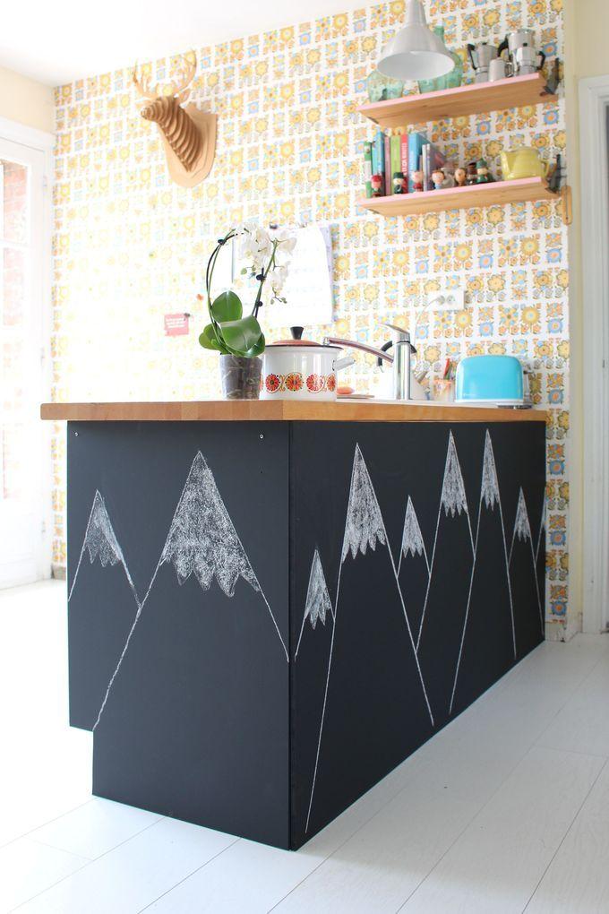 Tangerinette tableau noir ardoise chalkboard cuisine ecole notre maison our home en 2019 - Peinture ardoise cuisine ...