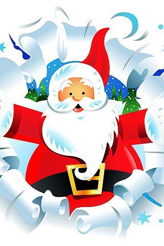 Vintage Style Santa Christmas IPhone Background