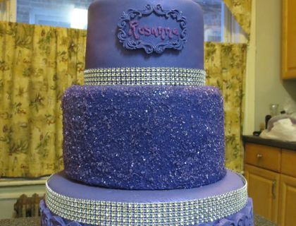 40th birthday....choc/van cake....smbc.....fondant covered