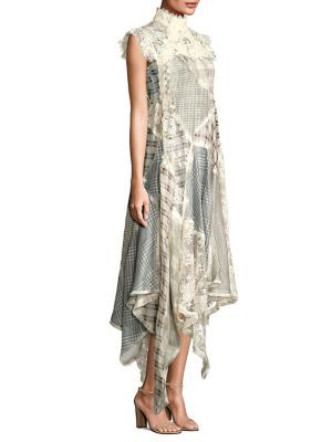 Cavalier Plaid Silk & Linen Dress, Beige Multi | Linen dresses ...