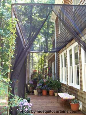 Mosquito Curtains Make For Easy And Affordable Porch Enclosures Patio Screened In Patio Pergola Patio