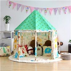 Cute Animals Green Hex-angular Cotton Cloth Kids Indoor Tent & Cute Animals Green Hex-angular Cotton Cloth Kids Indoor Tent ...