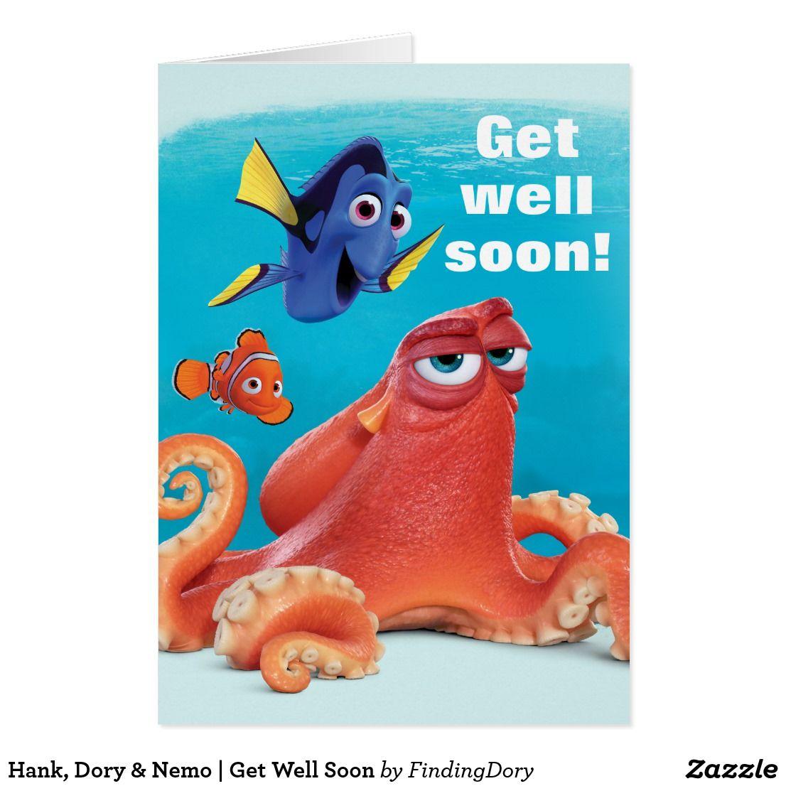 Hank Dory Nemo Get Well Soon Card Zazzlecom Disney Get