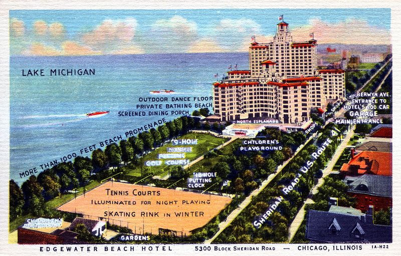 Edgewater Beach Hotel, postcard (Chicago Pin of the Day, 3/12/2016).
