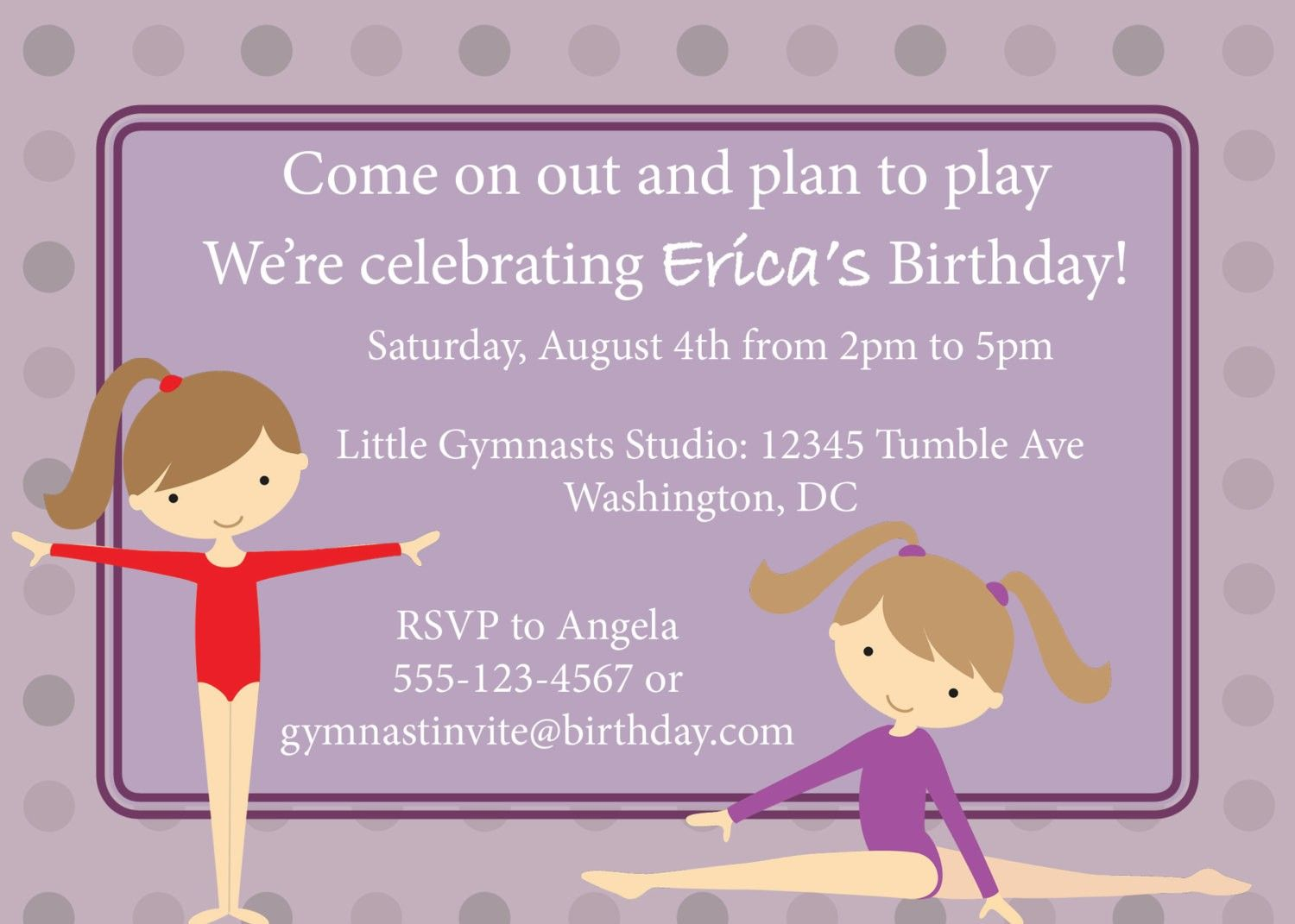 Free Printable Birthday Party Invitations Gymnastics | Gymnastics ...