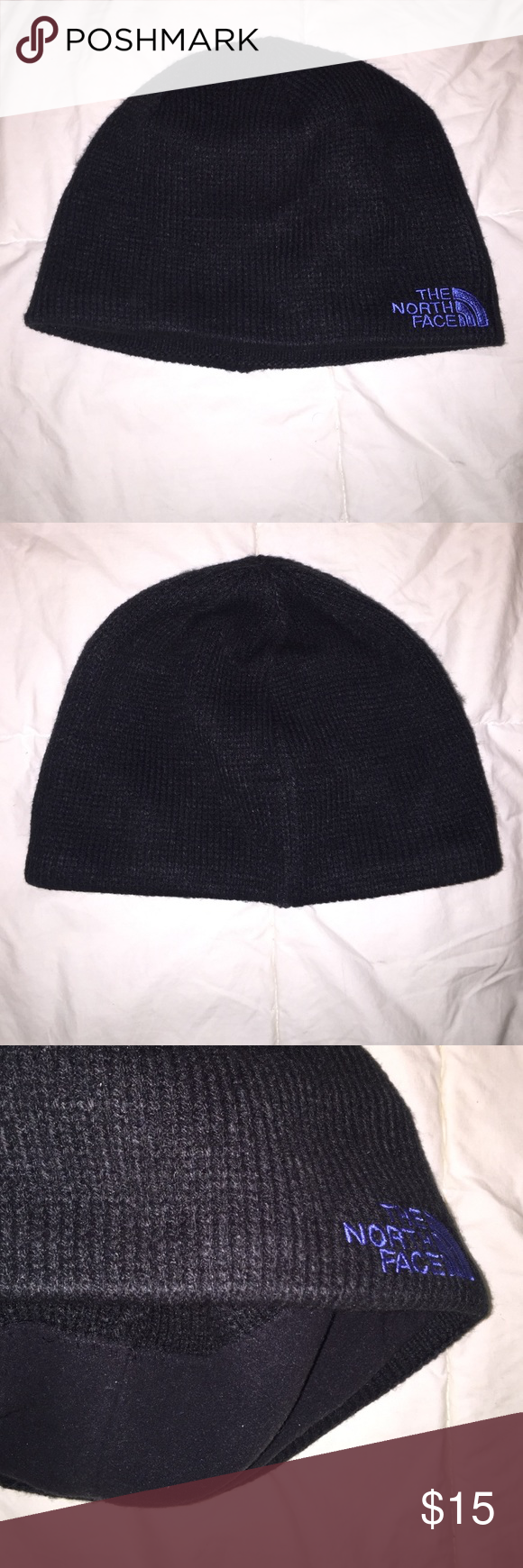 Northface knit beanie Black Northface knit beanie with blue logo. Super warm and comfortable, gently worn with no detectable flaws. North Face Accessories Hats