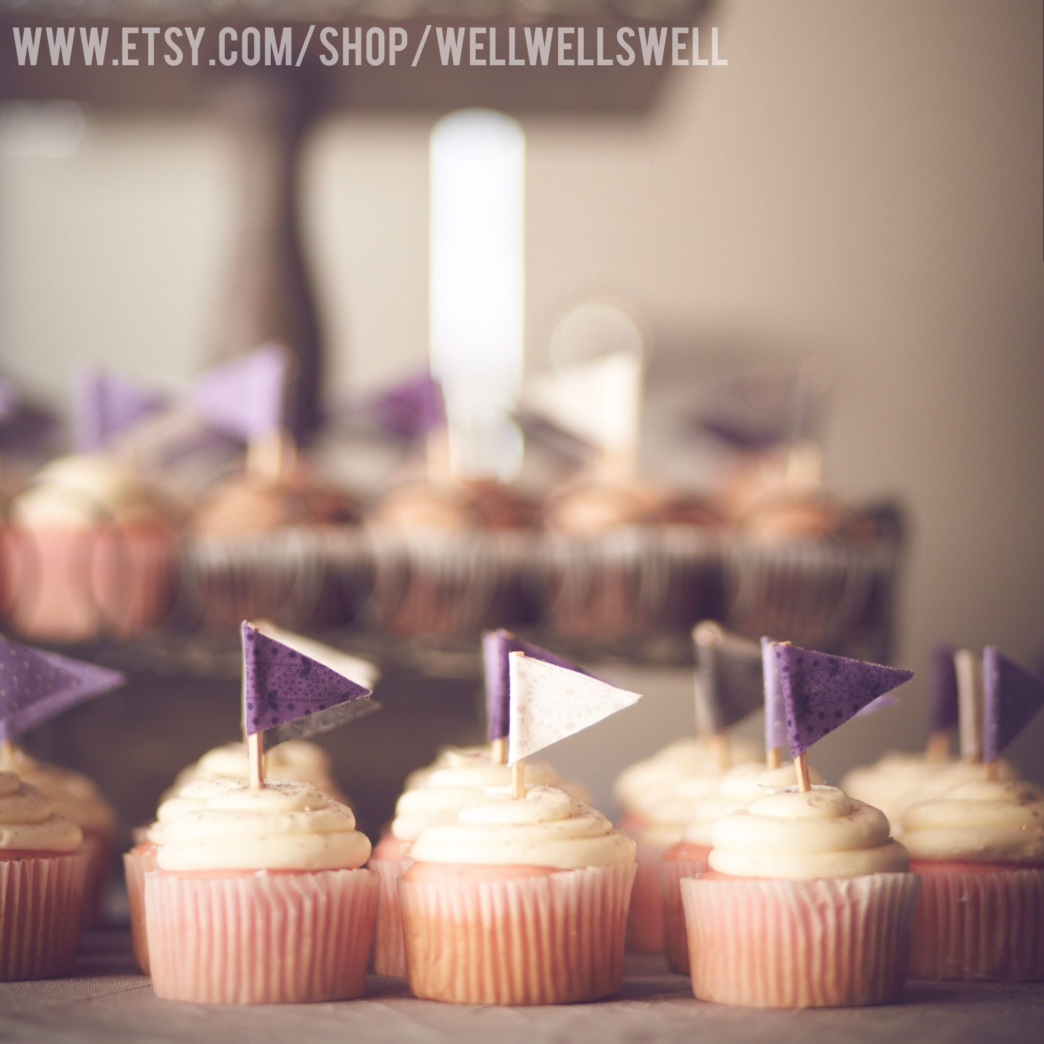 Cupcake flags.  Hand made.  Wedding decor. www.etsy.com/shop/WellWellSwell  #etsy #cupcakeflags #weddingdecor #wedding #rusticwedding #cuteweddingdecor #weddingstyle