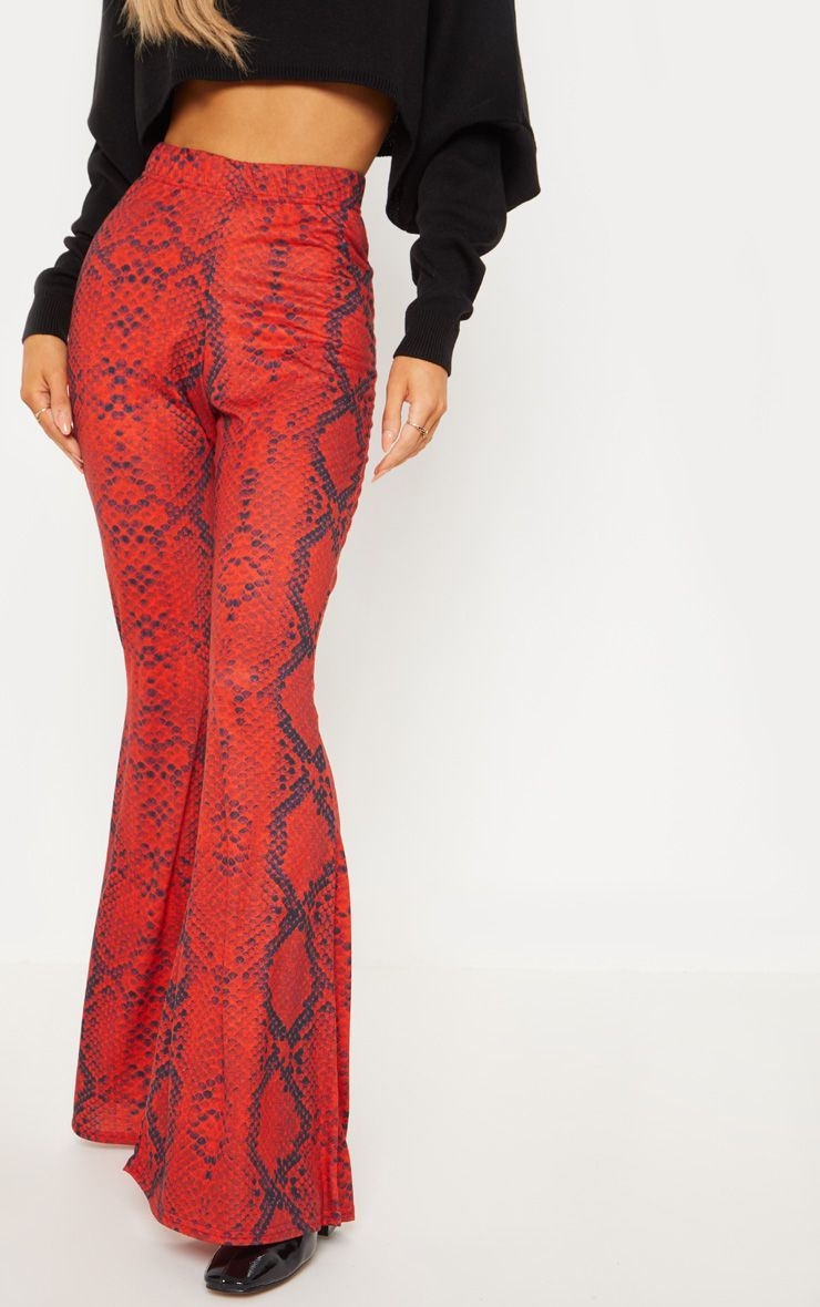 5771b463cb44af Red Jersey Snakeskin Flared Trouser in 2019 | Products | Trousers ...