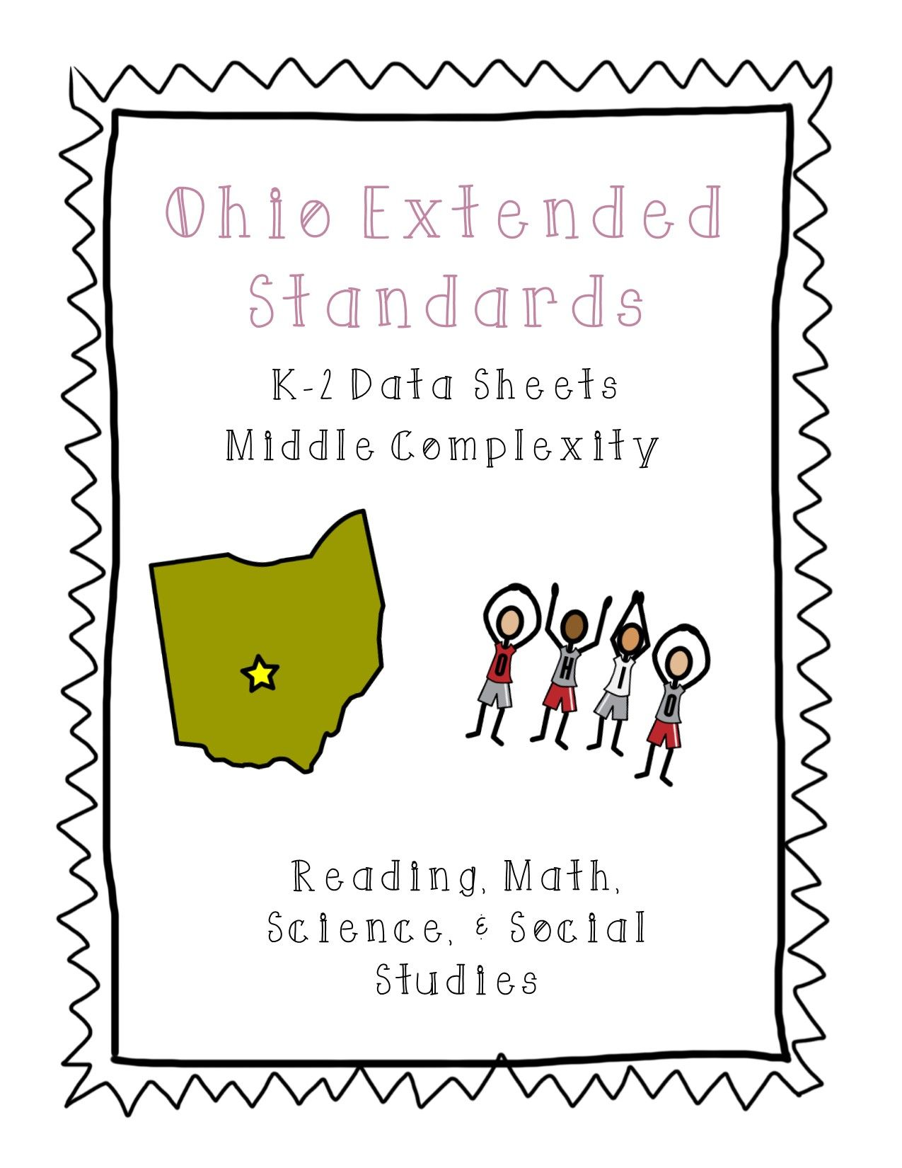 Ohio Extended Content Standards Data Sheets K 2 Middle