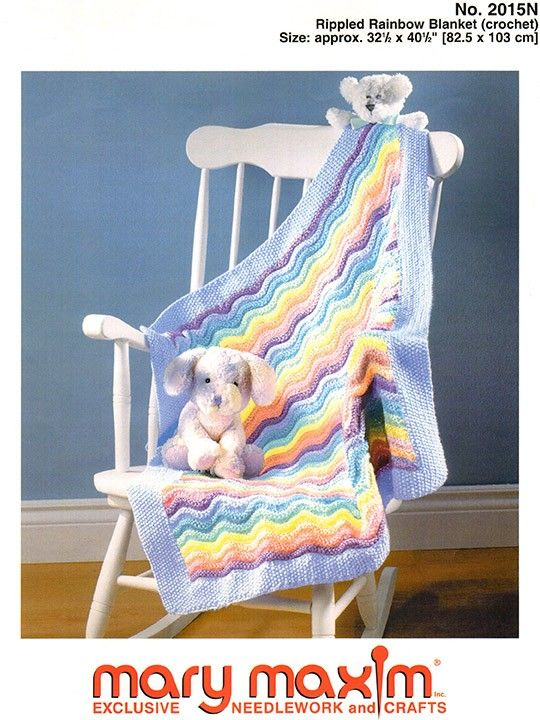 Crochet this colorful blanket using Bernat Satin Worsted Weight yarn ...