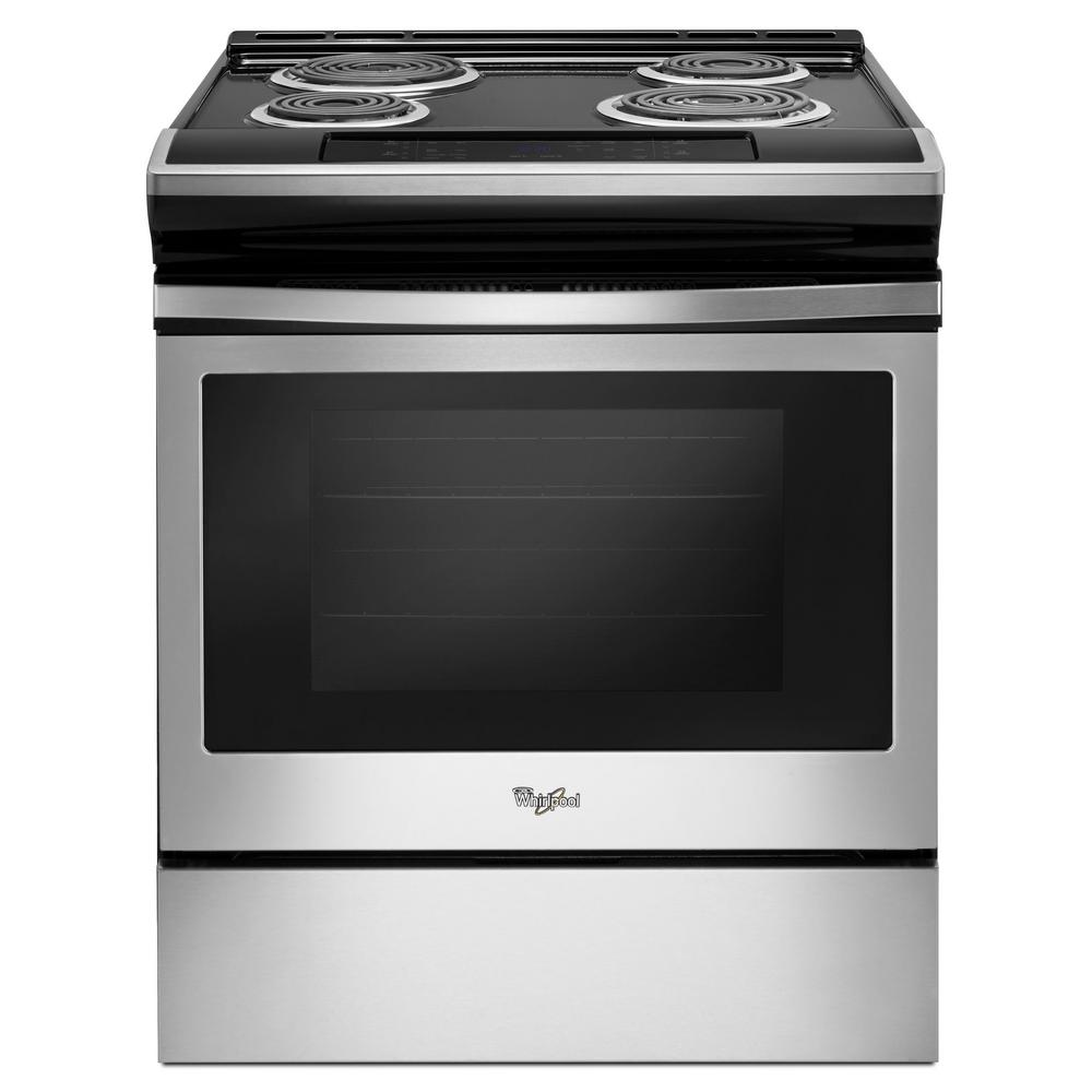 Whirlpool 4 8 Cu Ft Electric Range In Stainless Steel Wec310s0fs The Home Depot Electric Range Cooking Range Stainless Steel Range