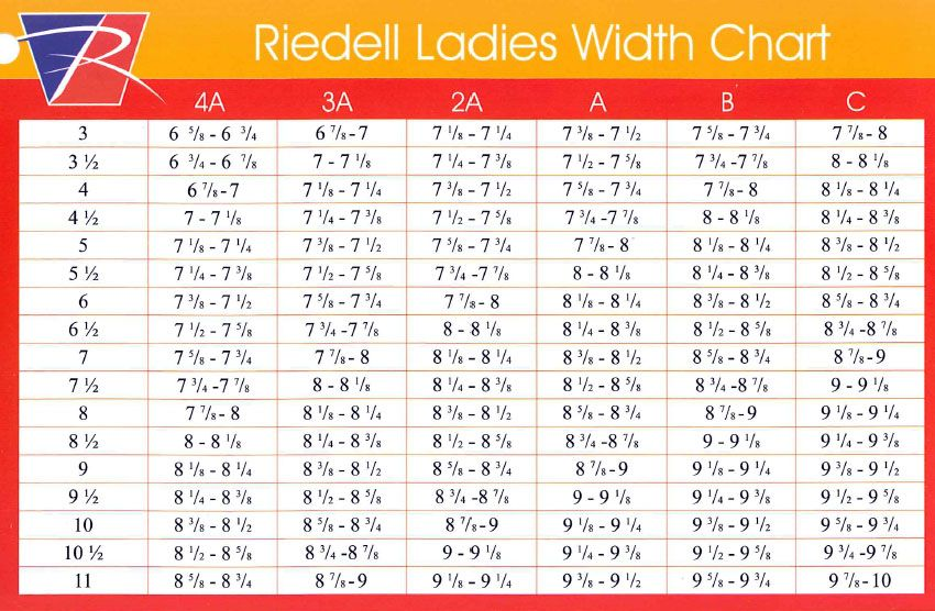 Riedell Sizing Guide Speed skates