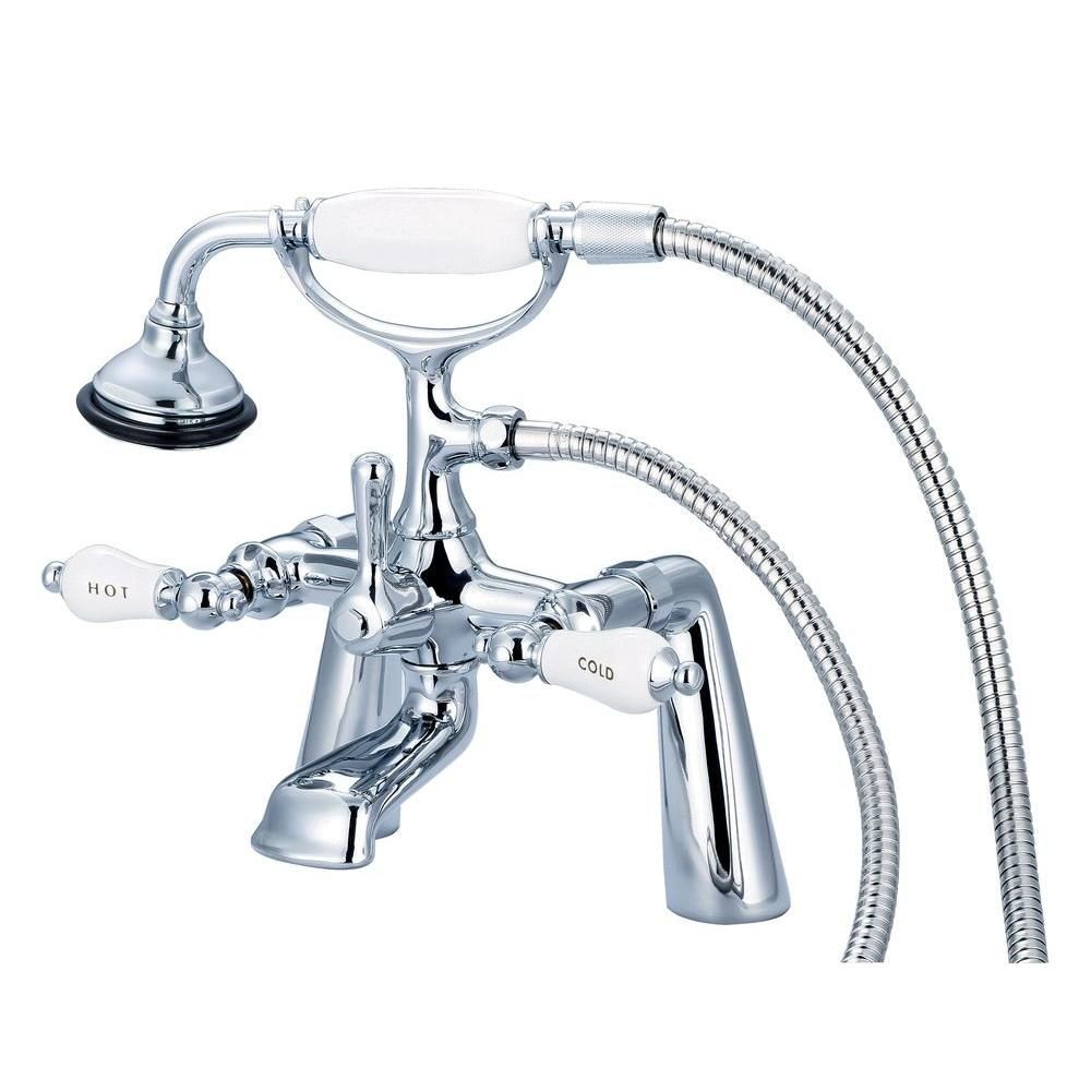 Water Creation 3 Handle Claw Foot Tub Faucet With Labeled