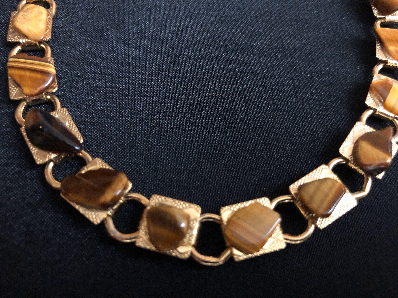 Nice Tigers Eye Panel Link Bracelet Brown/Tan Multi