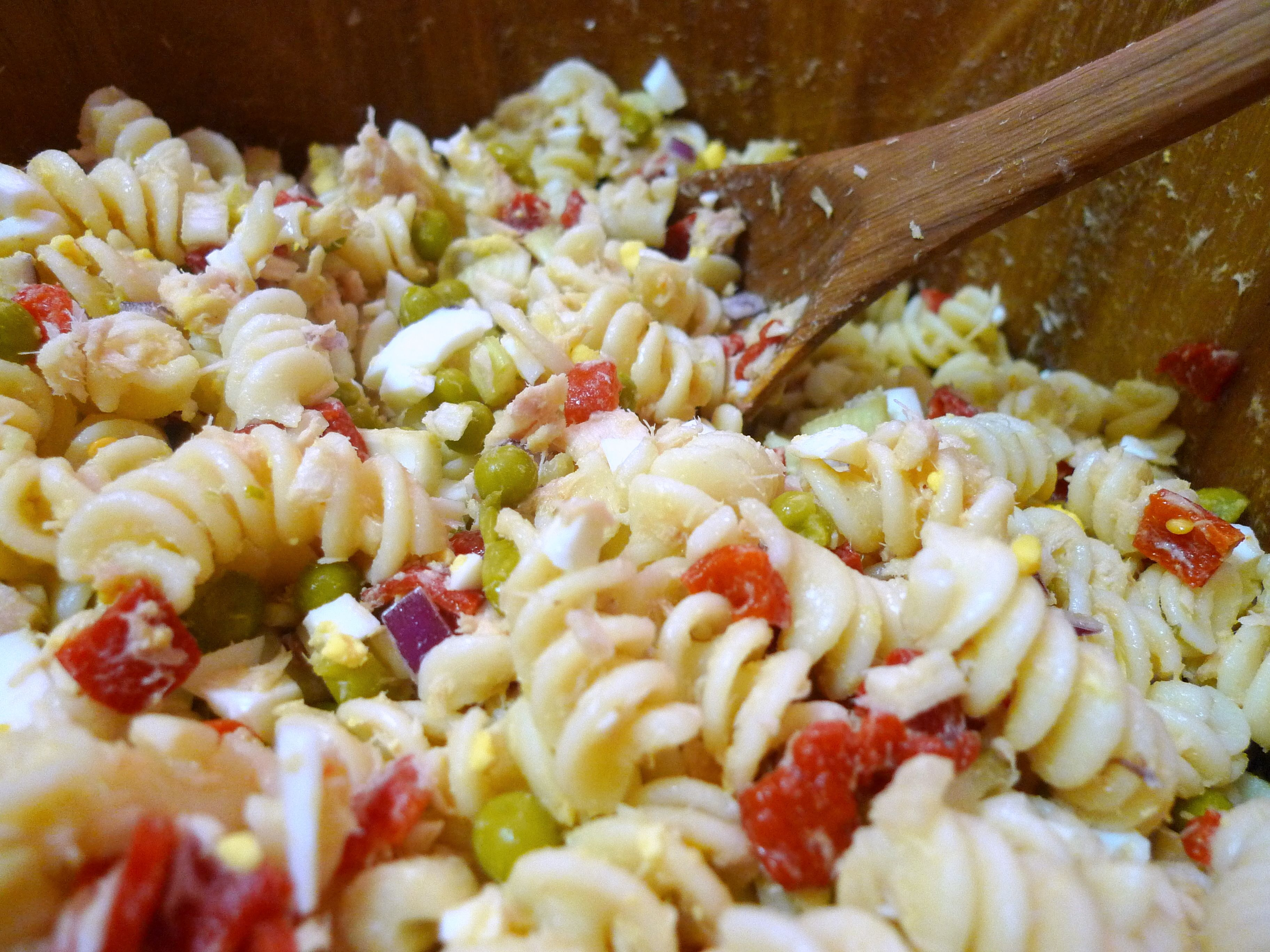 Tuna Pasta Salad--stir in the mayo, dijon mustard, lemon juice, paprika, salt, pepper