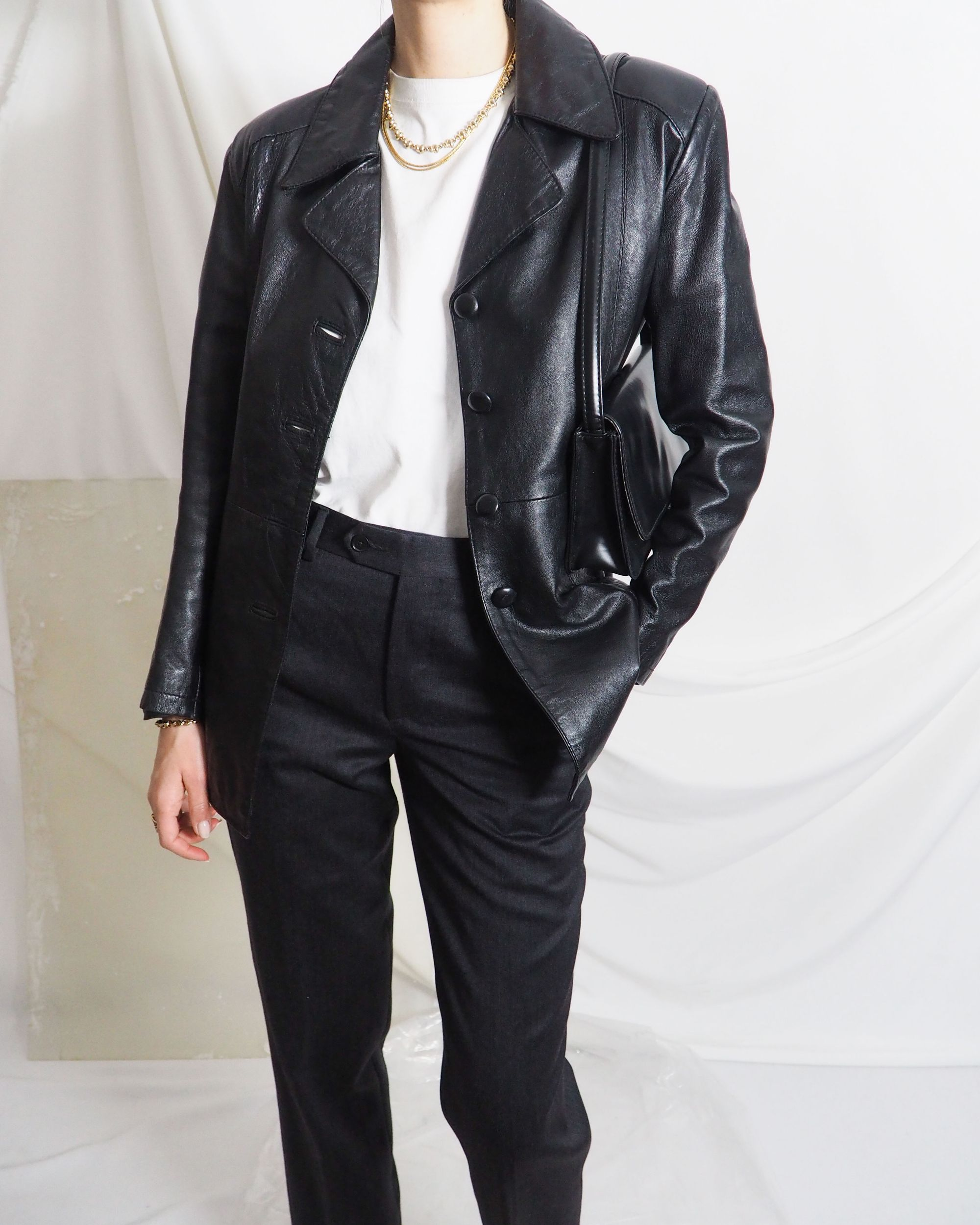 Vintage Black Leather Blazer Jacket With Wool Trousers A White Tee And Some Gold Untit In 2020 Vintage Clothing Online Online Shopping Clothes Leather Blazer Jacket