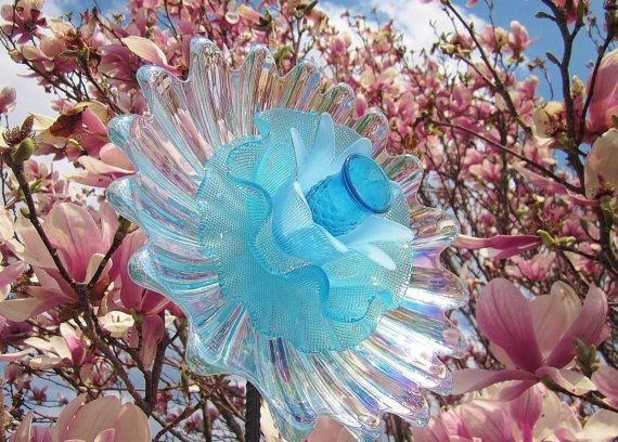 Aqua Iridescent Garden Art Glass Flower Suncatcher by jarmfarm