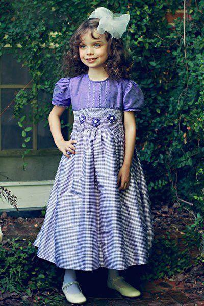 74a6c2d03 Girls Silk Smocked Dress in Light Purple