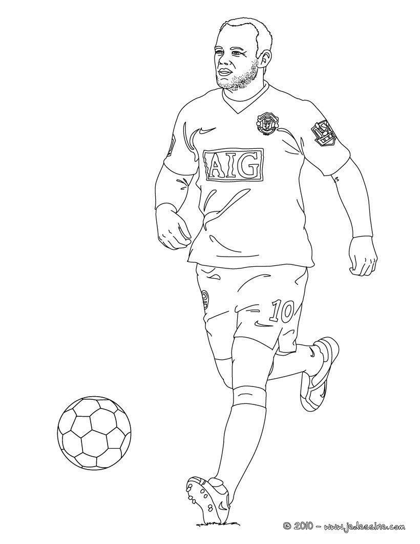 Coloriage du joueur de foot Wayne Rooney € imprimer gratuitement ou colorier en ligne sur