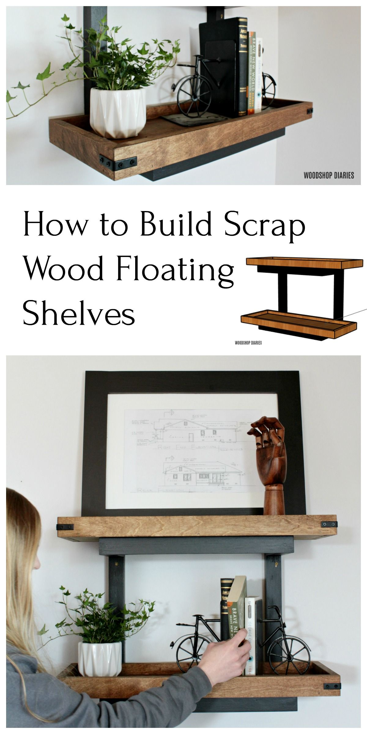 How To Build Floating Diy Wall Shelves Without Brackets From Scraps In 2020 Floating Wall Shelves Shelf Without Brackets Wall Shelves