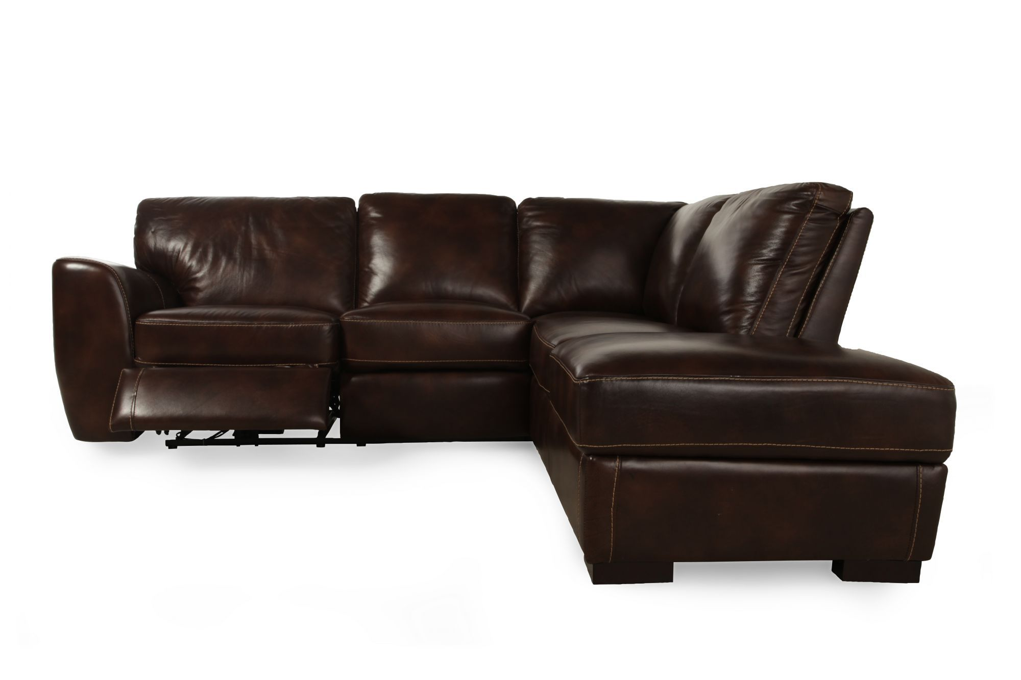 LANE LEATHER LOCHTE CHESTNUT SECTIONAL