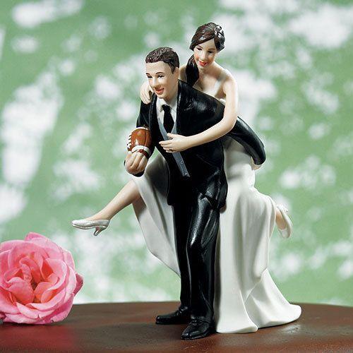 Playful Football Wedding Cake Topper 3 Skin Tones