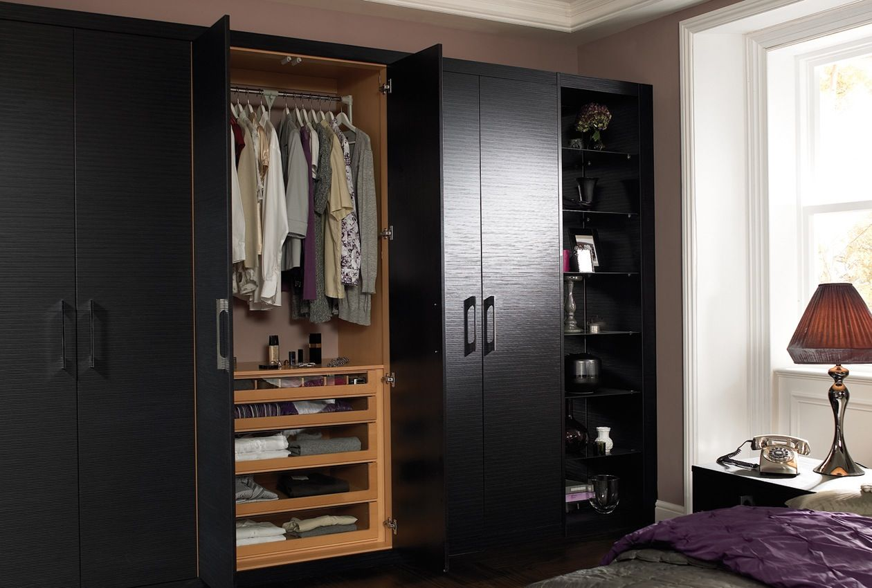nifty overhead storage - sherbourne oak and maple wardrobes