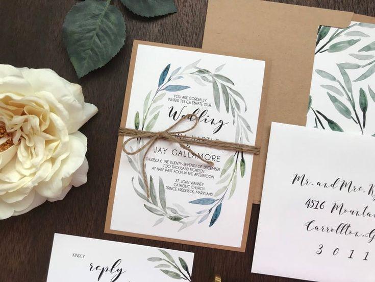 Photo of Botanisches Hochzeitseinladungsset, Grünhochzeitseinladung …