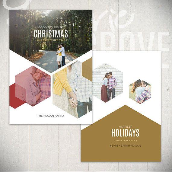 Christmas Card Template 5x7 Geometric Holiday Card Templates Etsy Christmas Card Template Holiday Card Template Holiday Design Card