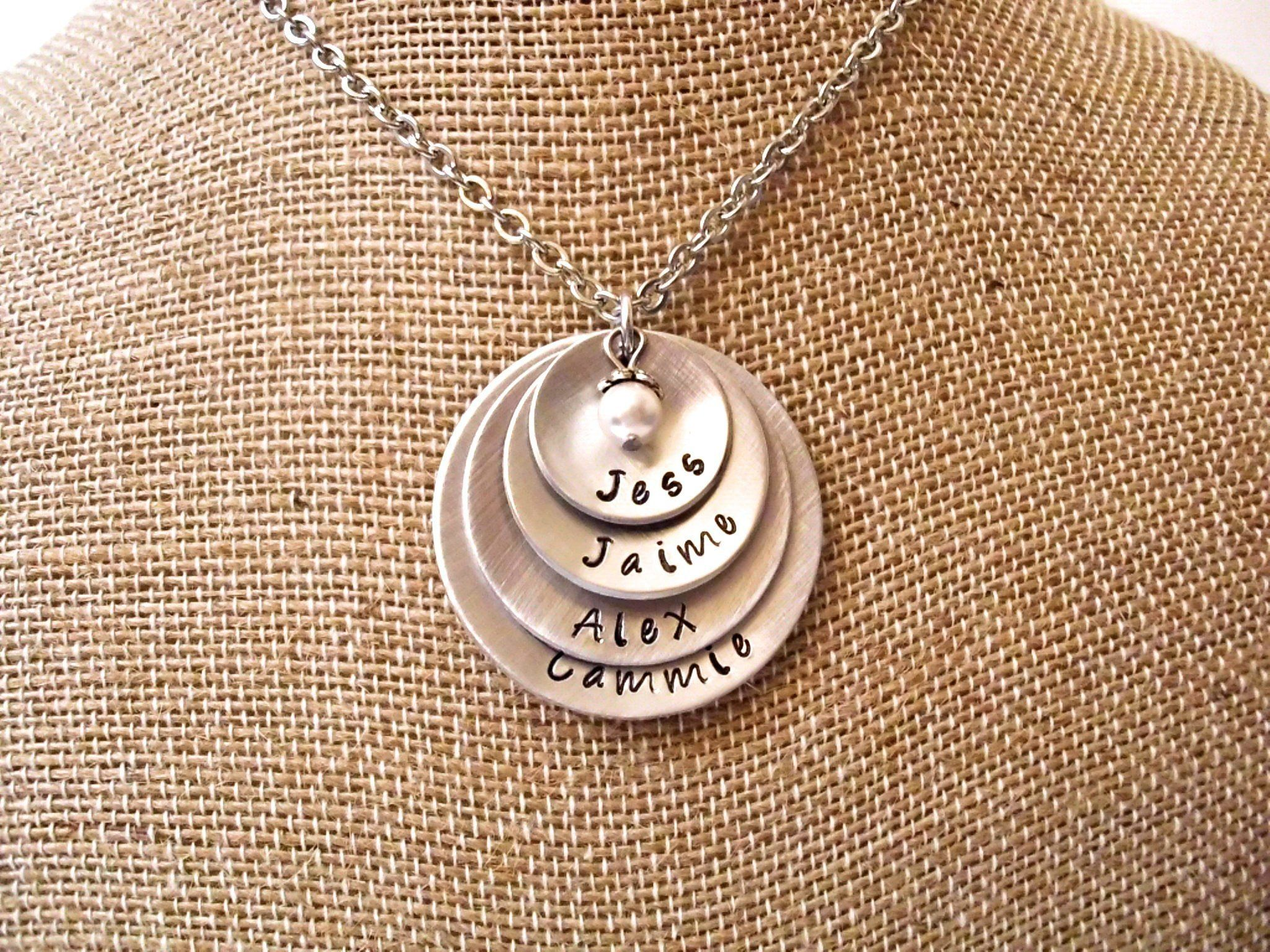 Grandmother Personalized Necklace Grandkids Personalized Name Washer Necklace