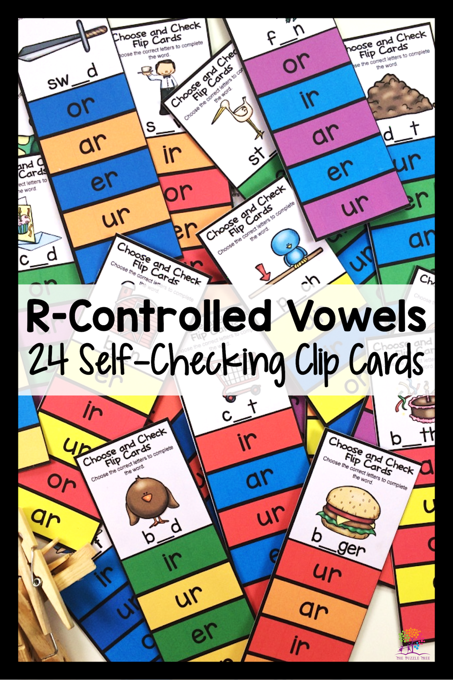 R Controlled Vowels Clip Cards For Phonics Centers And