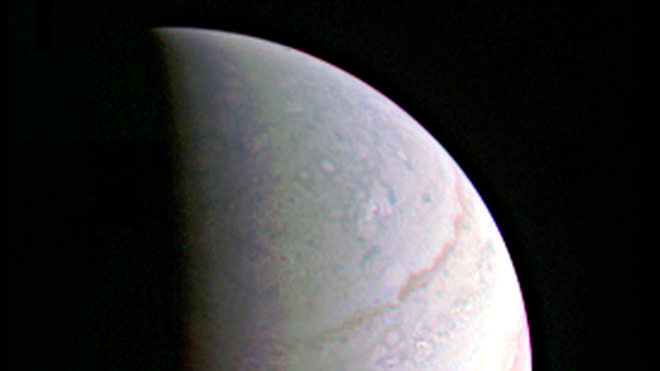Jupiter's north polar region is coming into view as NASA's Juno spacecraft approaches the giant planet. This view of Jupiter was taken on August 27, when Juno was 437,000 miles (703,000 kilometers) away.