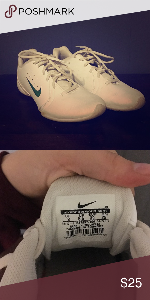 32ea64493d7 Nike women s white non marking shoes size 8 Hardly worn only for a semester  of cheerleading