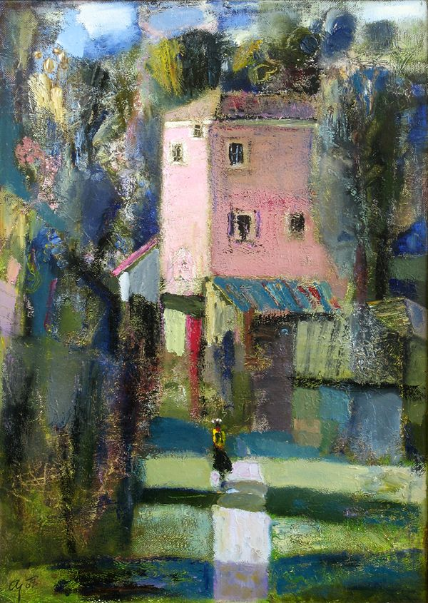 Andrey Aranyshev Born In 1956 Landscape With Pink House