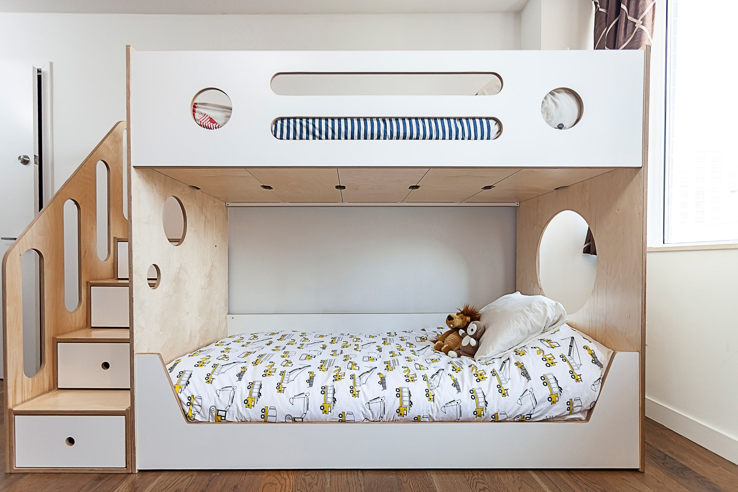 A Simple Bunk Bed With Storage Stairs It S Tried And True Because It Works Custom Cutouts Keep This Classic Piece F Bunk Beds Kids Bunk Beds Modern Bunk Beds