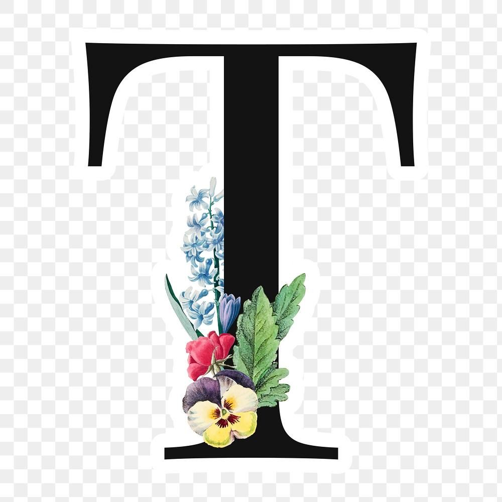 Flower Decorated Capital Letter T Sticker Typography Free Image By Rawpixel Com Sicha Floral Letters Free Illustrations Flower Decorations