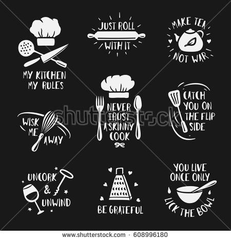 Hand Drawn Kitchen Posters Set Quotes And Funny Sayings About