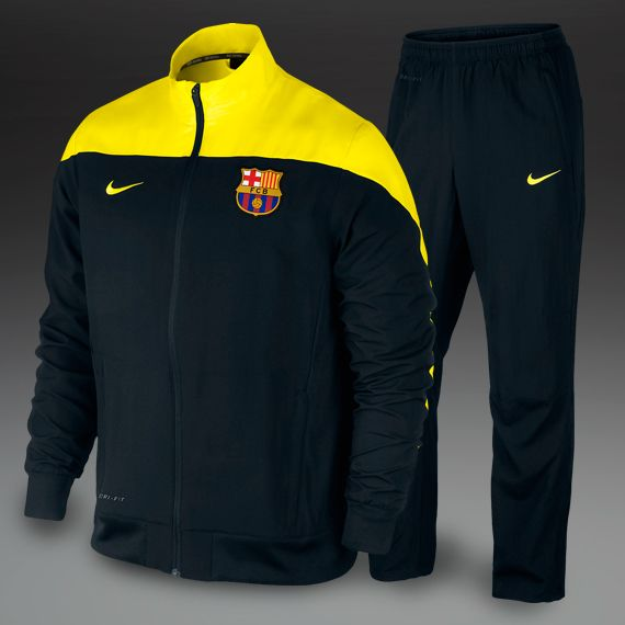 Nike Barcelona Squad Sideline Woven Warm Up Suit - Black/Yellow