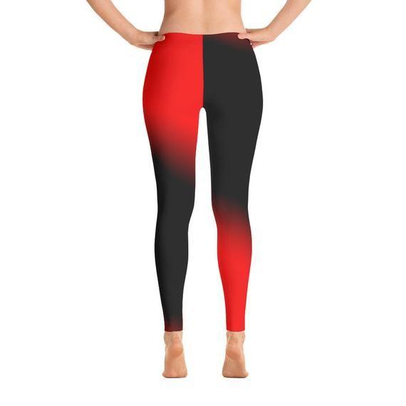 Gradient Womens Leggings Red Black Gradient Ombre Leggings High Waist Yoga Shorts Workout Leggings