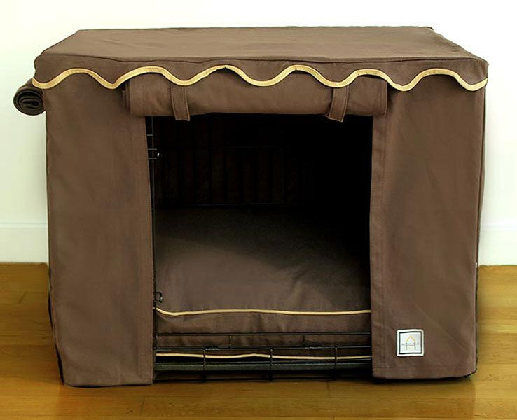 Our Solid Teak Brown Crate Cover Will Transform Any A Luxury Doghouse Covers Fit Midwest Lifestage Crates Or Standard Cage