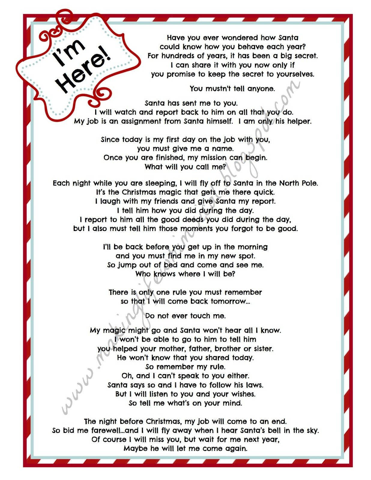 Elf On A Shelf Letters To Kids  You Can Download The Letter And