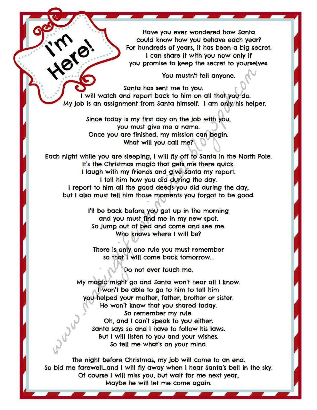Elf Intro Letter For Kids Elf Letters Elf On The Self Elf