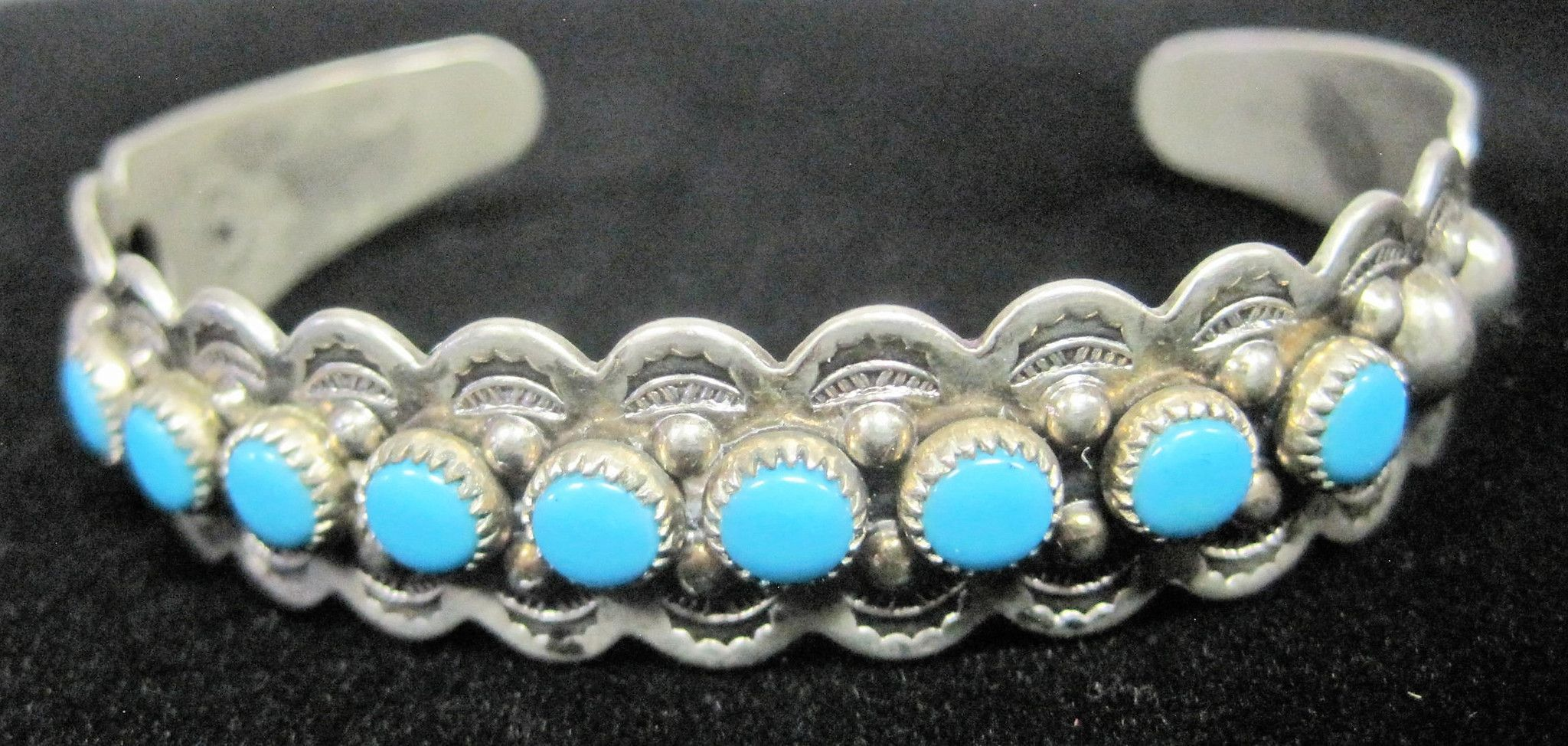 Native American Nickle Silver Bell Turquoise Stoned Cuff Bracelet