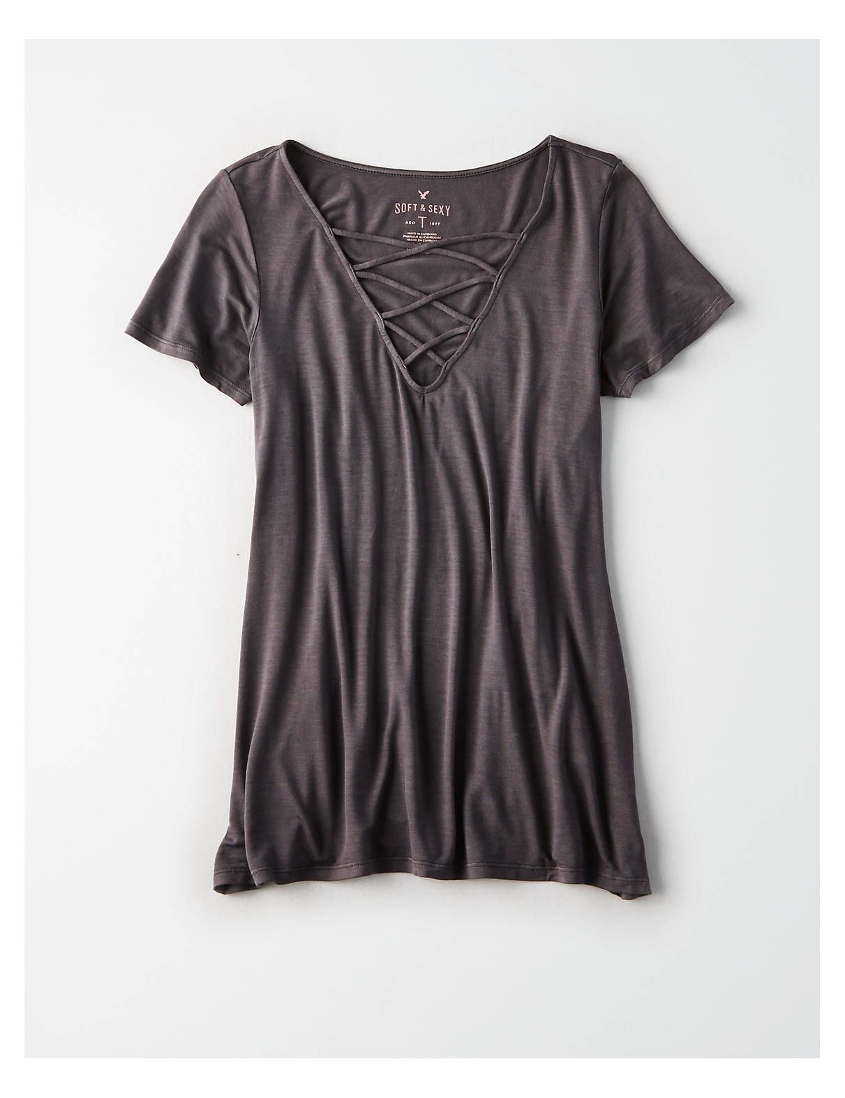 ecce97ba80d46 AE SOFT   SEXY SHORT SLEEVE LACE-UP T-SHIRT