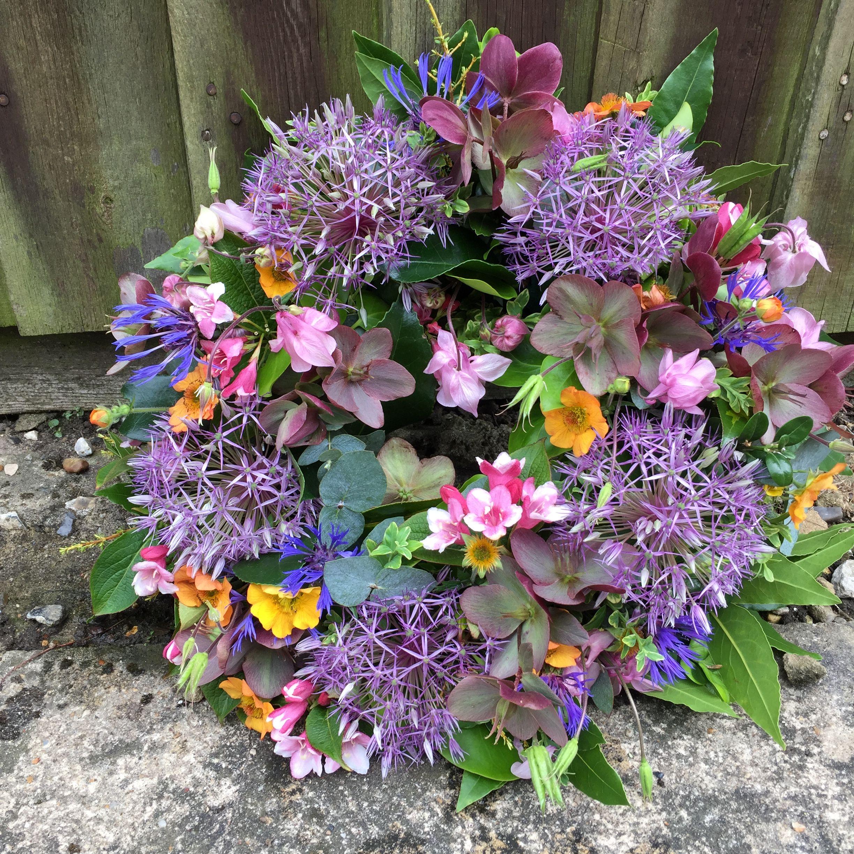 Wreath Of British Spring Flowers By Jane Farthing Daphne Doreen