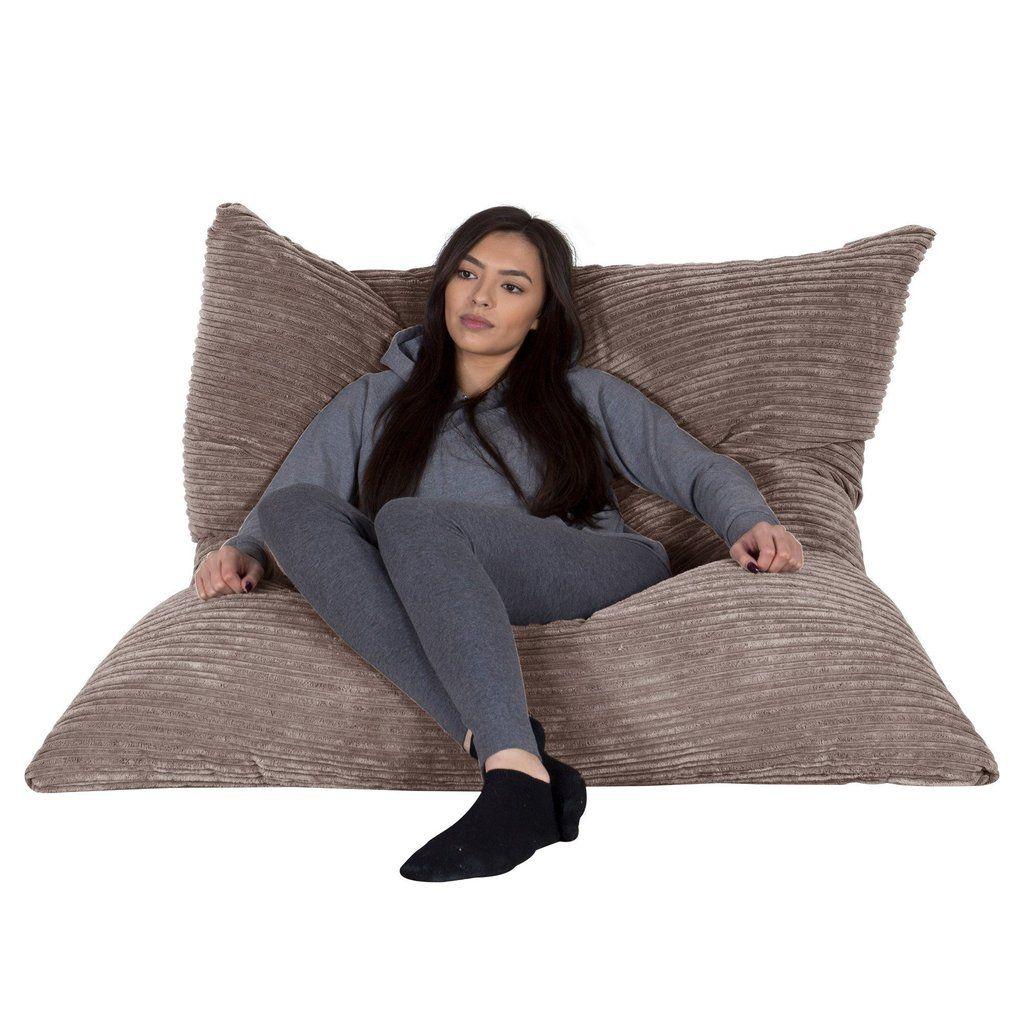Lounge Pug Giant Bean Bag Floor Cushion XXL Beanbag Cord Mink – Big ...