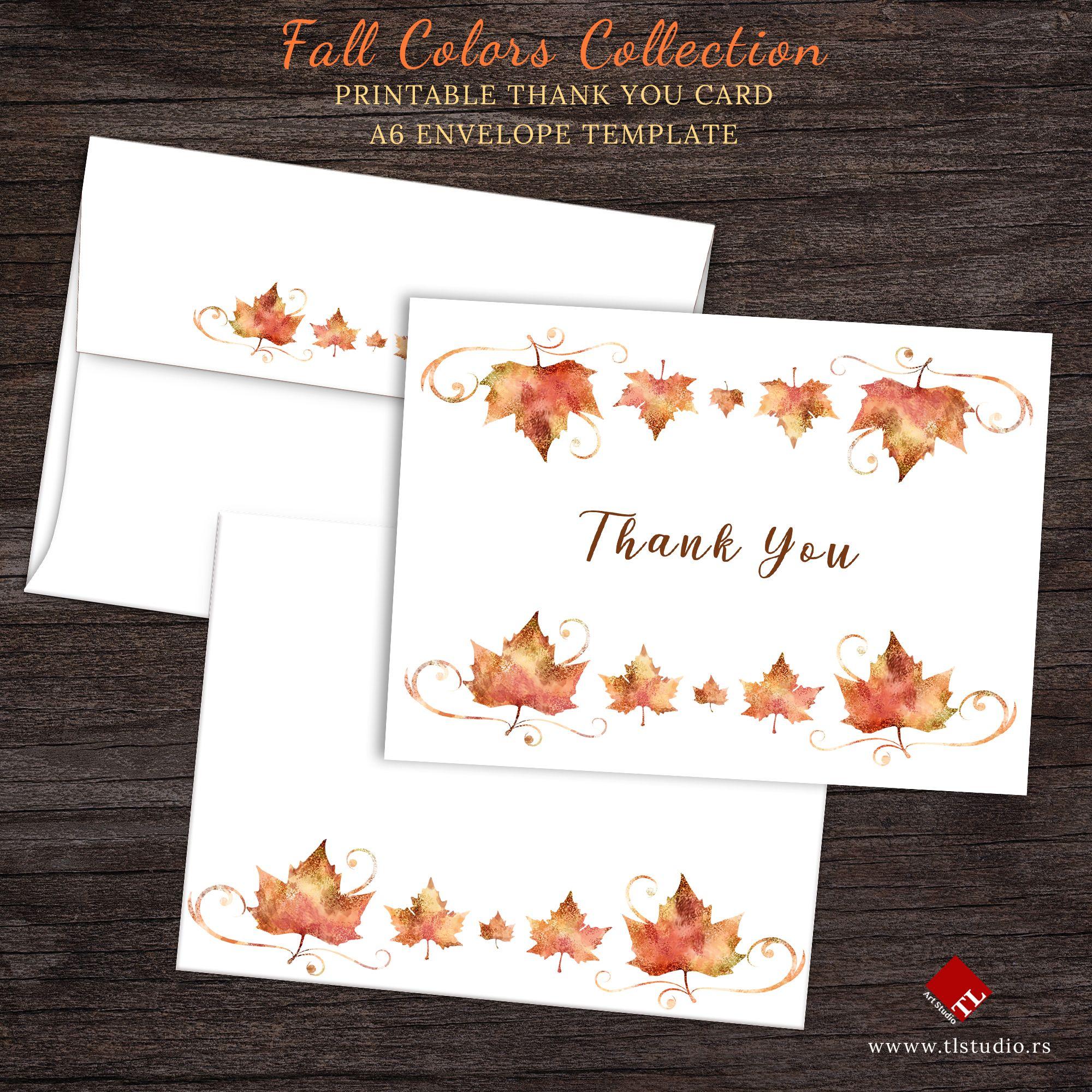Printable Autumn Thank You Card Printable Thank You Cards Thank You Card Template Printable Stationery